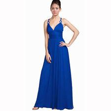 Elegant Chiffon Triple Spaghetti Formal Evening Gown Bridesmaid Dress Blue