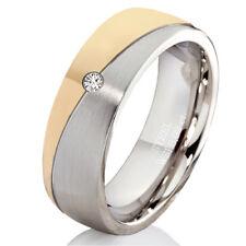 Verlobungsring mit echtem Diamant Damenring aus Edelstahl und Ring Gravur DEB14