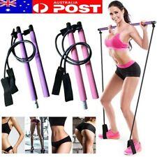 Portable Pilates Bar Kit W/Resistance Band Adjustable Exercise Stick Toning Gym!