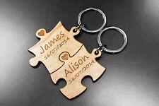 Personalised Puzzle Pieces Keyring Set Gift Idea Present Birthday Wedding  !!