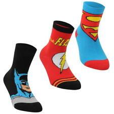 BOYS KIDS JUNIORS DC COMICS SUPERMAN BATMAN FLASH 3 PACK CREW LOGO SOCKS