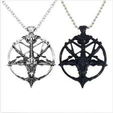 Set Kette Anhänger Pentagramm Halskette Widder Kopf Teufel Lucifer Satan Gotik