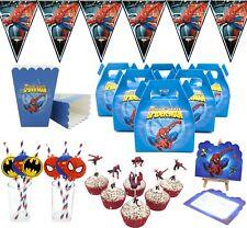 spider man fête d'anniversaire SUPPLY Drapeau paille SUCRERIE Popcorn BOITE