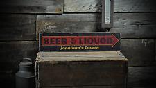 Custom Beer & Liquor Tavern Arrow - Rustic Handmade Vintage Wood Sign ENS1001170