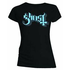 Ghost B.C ' Blue/Grey KEYLINE LOGO ' Donna T-shirt ADERENTE - NUOVO E ORIGINALE