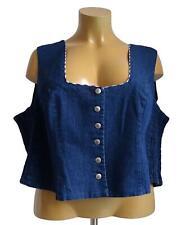 NEU Übergröße kurze Damen Jeans Weste Corsage blau im Trachtenlook Gr.58,60,62