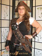 Pirate Steampunk Leather Baldric Flintlock Gun Holsters Flask and Glass Vials