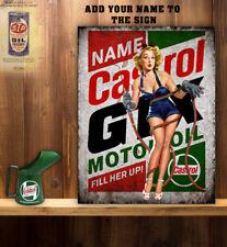 PERSONALISED GTX OIL SEXY GIRL CAVE 2 GARAGE WORKSHOP  Vintage  Metal Wall Sign