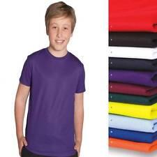 Kids Girls Poly Tee Shirt Gym Quick Dry Sports Team Club T-Shirt NEW Boys 7PNFT