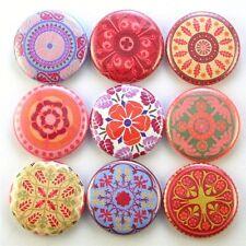 red pink medallion mandala office boho fridge magnet pin badge button cab charm