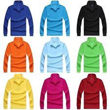 2017 Men's Long Sleeve Polo Shirt Casual Shirts Basic Tee Tops Cotton T-shirt