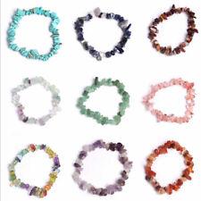 GEMSTONE Bracelet Crystal Gravel Beaded Stretch Wristlet Reiki Healing Bangle