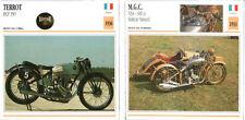 SCHEDA MOTO MOTORCYCLE CARD TERROT HCP 350 1936 - M.G..C. N3A 600 SIDECAR SIMARD