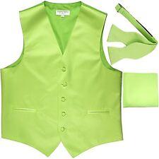 New Men's Solid Tuxedo Vest Waistcoat & Self-tie Bowtie Set Lime Green