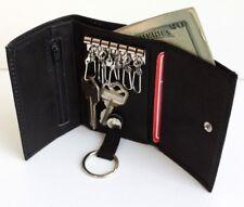 Men's Genuine Trifold Leather Key Holder Zip Pocket Bill Insert 6+1 Rings Wallet