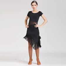 Latin Ballroom Dance Dress Modern Salsa Waltz Standard Long Dress#N073 Black