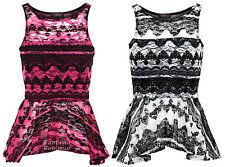 New Ladies Sleeveless Black White Lace Peplum Vest Blouse Womens Top Size 8 - 14