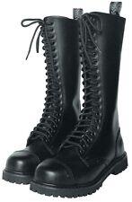 KB Gothic Boots 20-Loch Schwarz 37-47 Schuhe Gothicschuhe Stahlkappen Stiefel