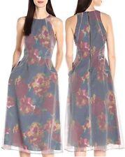 Rachel Roy RDSD102B Navy-Multi Organza Print Halter Midi Dress w/Pockets, 8 $179