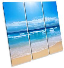 Onda de playa de arena Surf Azul LONA pared arte Foto impresión cuadrado de agudos
