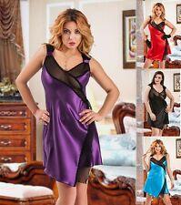 Satin robe babydoll noir violet rouge bleu grande taille 8-24 voir à travers dentelle slip