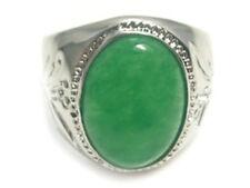 Fashion Emerald Green Jade 18KWGP Men's Luxury Rich Ring size: 8.9.10