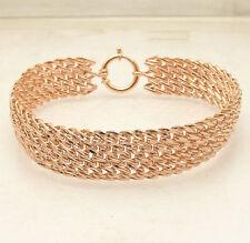 Diamond Cut Mesh Wowen Bracelet 14K Rose Pink Gold Clad Silver Style QVC