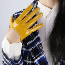 """LATEX LONG GLOVES Shine Leather Faux Patent PU 5"""" 13cm Opera Mustard Yellow"""