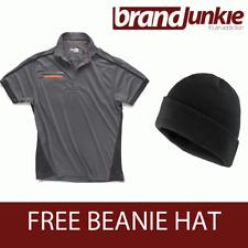 SCRUFFS GRAPHITE ACTIVE PRO ZIP POLO Hardwearing Work Shirt + FREE BEANIE HAT