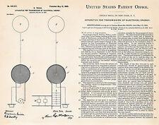 1900 Vintage Tesla Coils Transmission Patents Technology Poster Art Print