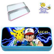 Plumier à crayons boite métal pokemon personnalisé avec prénom au choix réf 14