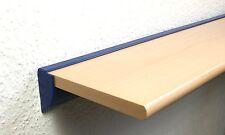 Wandregal Buche Echtholzfurnier 3 Größen mit Profil Klemmleiste blau  Aluminium