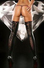 LACING Noir- Bas vinyle à laçage Lolitta Tailles S/M ou L/XL