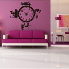 Sticker mural Horloge géante ACTIVITES DE LA JOURNEE avec mécanisme aiguilles