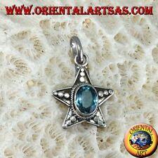 Ciondolo a stella in argento  925 ‰ con Topazio azzurro ovale naturale