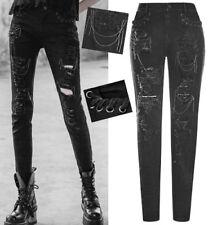 EN STOCK Jeans pantalon destroy gothique punk fashion déchiré chaînes PunkRave