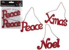 SET OF 2 PEACE NOEL XMAS NOVELTY TEXT HANGING DECORATION