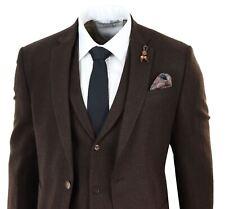 Mens Brown 3 Piece Tweed Suit Herringbone Wool Vintage Retro Peaky Blinders
