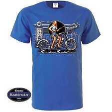 Camiseta Azul real Vintage HD Motorista y motivo oldschool M-XXL Modelo Azul Gas