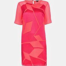 River Island Dress Orange Pink Party Smart Sleeves UK 8-16 Silky Fabric