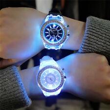Cool Fashion Women Wrist Watch LED Backlight Crystal Quartz Silicone Band Gift