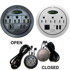 Power Tap Flip-Top Hidden Power Centers - AC Outlets, RJ45, USB - Black, White