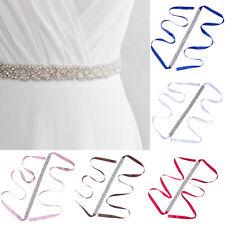 2PCS Adjustable Sash Belt Handmade Waistband Crystal Wedding Dress Waist Belts