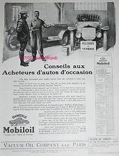 PUBLICITE MOBILOIL GARGOYLE GARAGE AUTOMOBILE OCCASION DE 1925 AD ADVERT OIL CAR