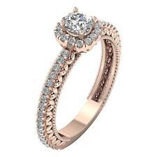 14K Rose Gold Solitaire Halo Annivarsary Ring Natural Diamond SI1 G 1.05 Carat