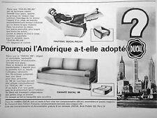 PUBLICITÉ CANAPÉ DUCAL FAUTEUIL DUCAL-RELAX POURQUOI L'AMÉRIQUE A-T-ELLE  ADOPTÉ