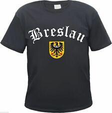 BRESLAU T-Shirt - Altdeutsch mit Schlesien Wappen - Schwarz, S bis 3XL - wroclaw