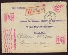 FRANCE 1928 REGISTERED...UNUSUAL METER FRANKING