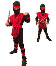 KIDS BOYS RED BLACK NINJA SUIT COSTUME FANCY DRESS MORTAL COMBAT GI JOE KARATE