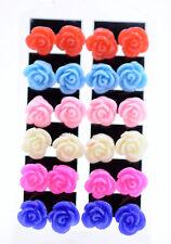Pretty resin rose earrings 50s 60s 70s, retro, multiple colours